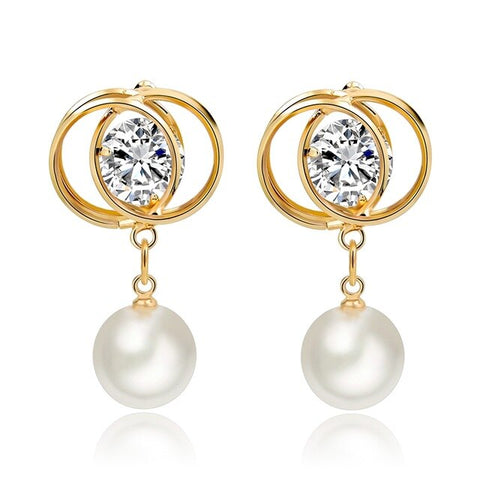 elegant simulated pearl & crystal earrings for women