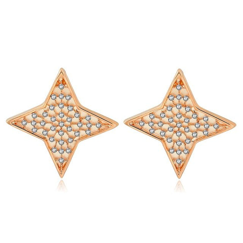 trendy crystal star gold color dangle earrings for women