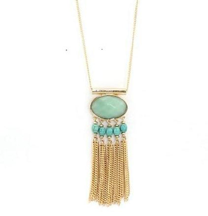 vintage oval stone & multilayer chain tassel pendant necklace