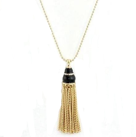 trendy golden chain tassel natural stone pendant necklace
