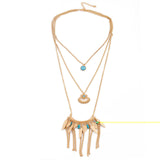 bohemian multilayer feather tassel pendant necklace for Women