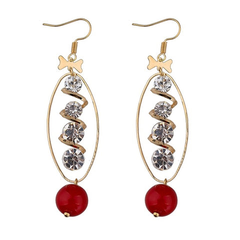 trendy gold color bow crystal circle drop earrings for women