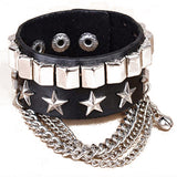 rock style pu leather chain star charms cuff bracelet