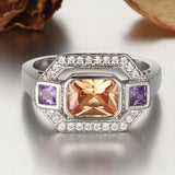 big square champagne color stone ring for women