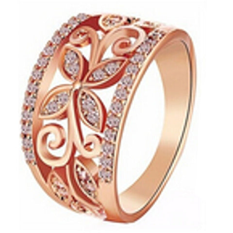 rose gold color crystal four clover flower ring for women