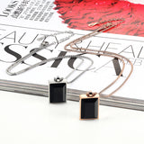 luxury square big black crystal pendant necklace