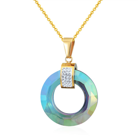 glass circle stainless steel with zircon pendant necklace for women
