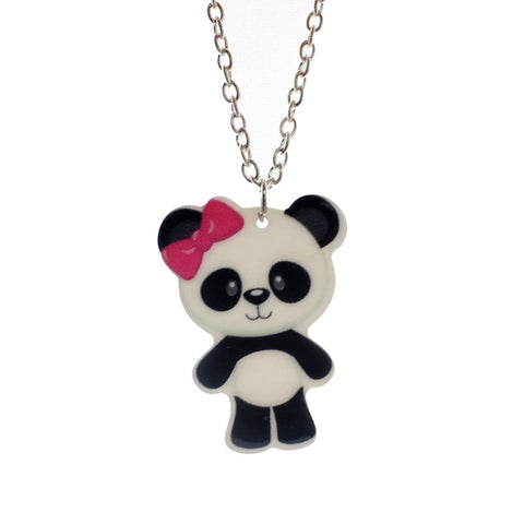 cute panda bear pendant short chain necklace for girls