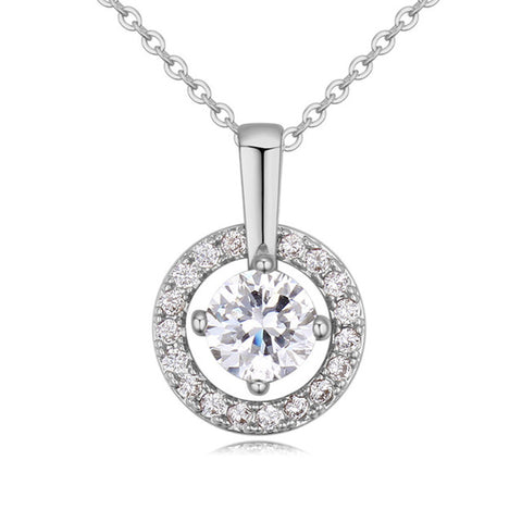 luxury circular zircon pendant necklace for women