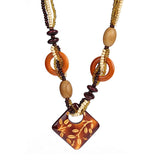 ethnic long handmade wooden beads pendant necklace