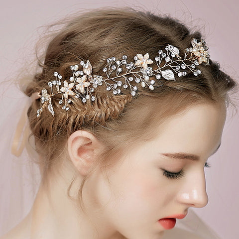 crystal rhinestone flower hair band for bridal