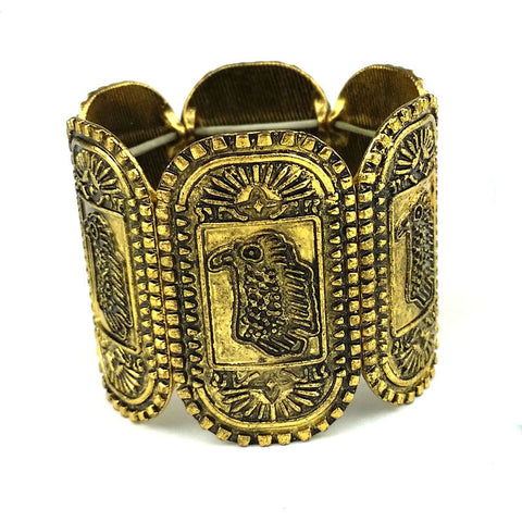 antique gold tribal carved bird stretch bracelet