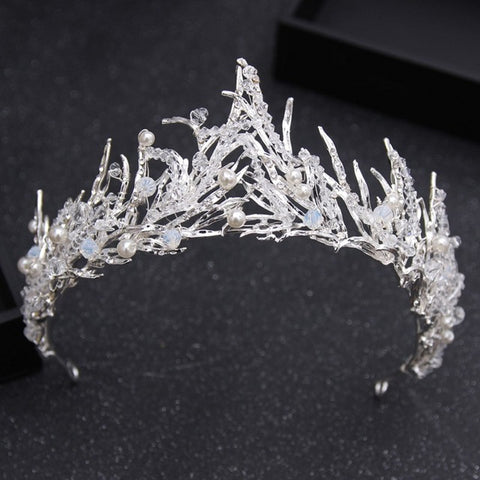 vintage black rhinestone leaf shape hair tiara crown for women