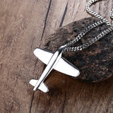 stainless steel airplane pendant necklace for men