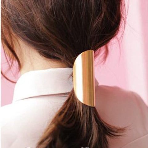 trendy elastic simple design metal hair cuff band  for women