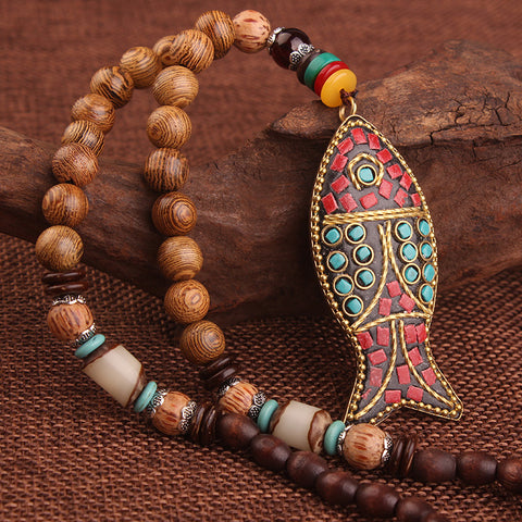 ethnic handmade fish pendant and sandwood beads necklace