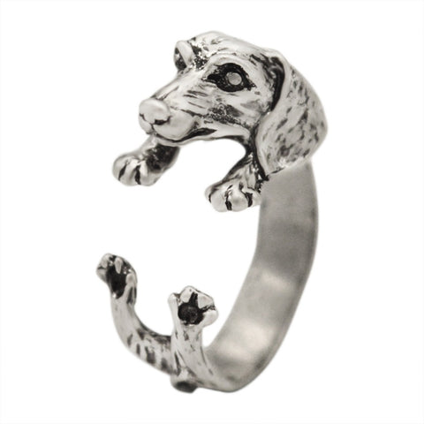 gold/silver color dachshund dog open ring for women