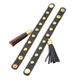 punk style pu leather gold color spike tassel wrap bracelet
