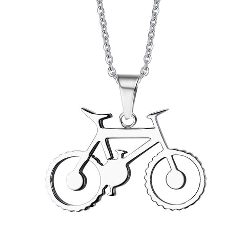 stainless steel bicycle charm pendant necklace