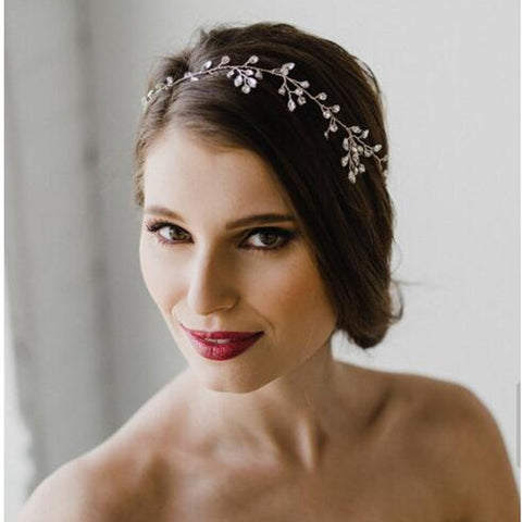 silver color rhinestone leaves headband tiara hair jewelry
