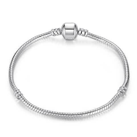 silver plated snap clasp snake chain charm bracelet for women