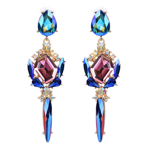 luxury big crystal chandelier dangle earrings for women