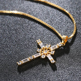 Luxury gold color cross rudder zircon pendant necklace