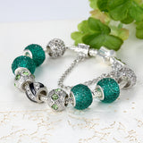 elegant silver charm green beads bracelet for women