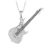 crystal zircon gold color guitar shaped necklace & pendant