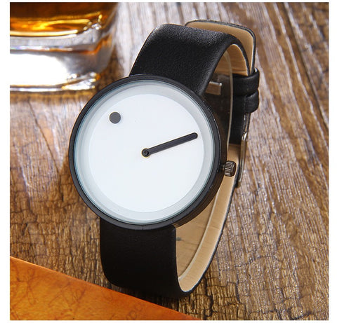 minimalist style black & white dot and line quartz watch