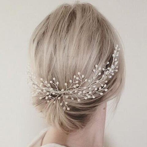 elegant simulated pearl vine shape hair comb for women