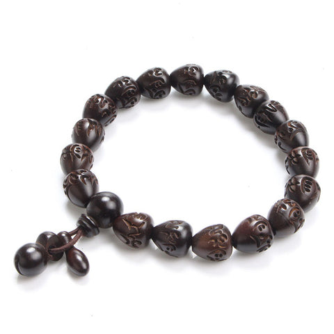 wooden engraved charm beads prayer buddha bracelet