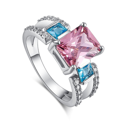 silver color colorful zircon stone ring for women