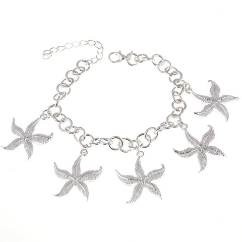 silver plated sea star charm bracelet for women