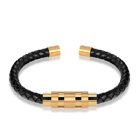 cool stainless steel & leather cord bracelet & bangle for men