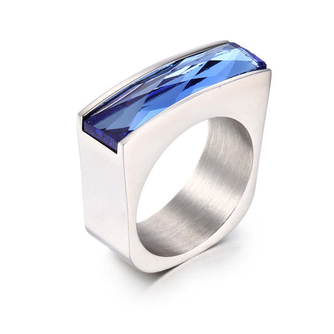stainless steel colorful crystal stone ring
