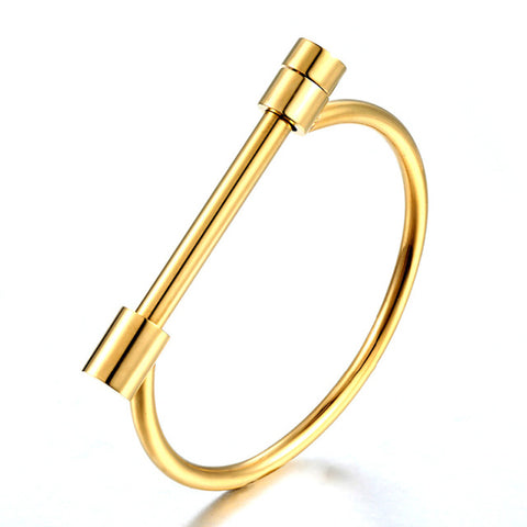 gold color stainless steel screw cuff bracelet for women