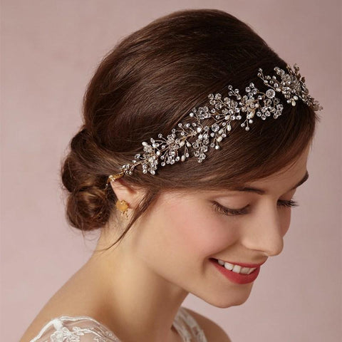 elegant silver plated crystal branch hair band tiara for women