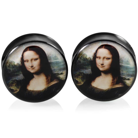 cool acrylic mona liza design ear plug tunnels earrings