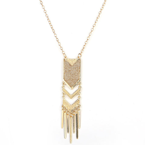 vintage gold color tassel pendant long necklace for women