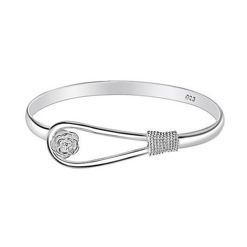 open hollow out bangle flower silver color bracelet