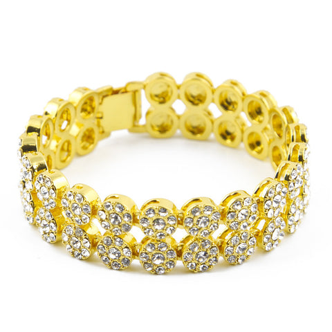 gold color iced out rhinestone round bracelet