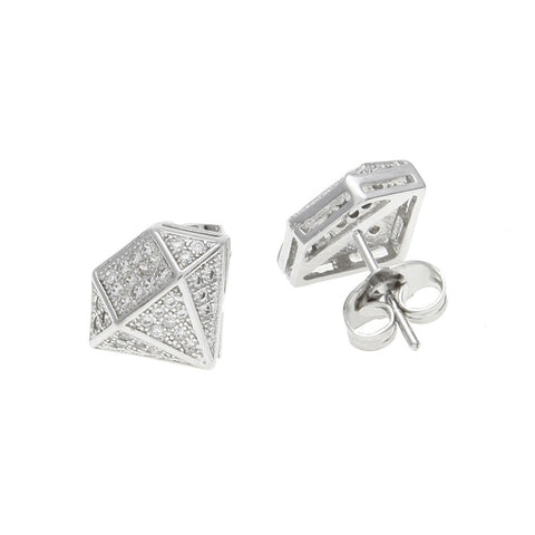 diamond shape iced out zircon crystal silver stud earrings