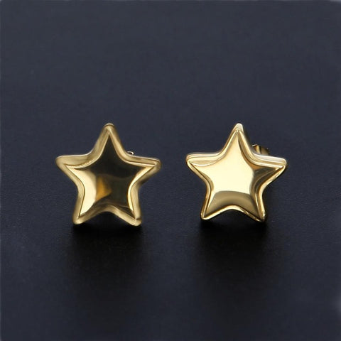 punk style silver star stud earrings