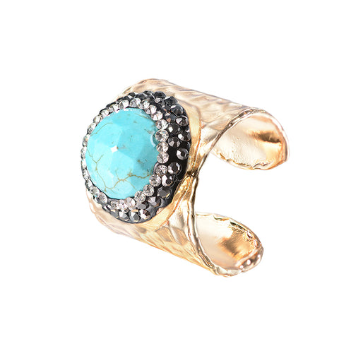 natural stone druzy ring with cz pave statement for women