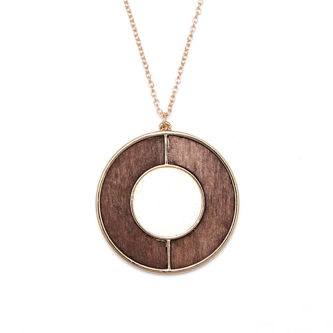 simple round wooden pendant necklace for women