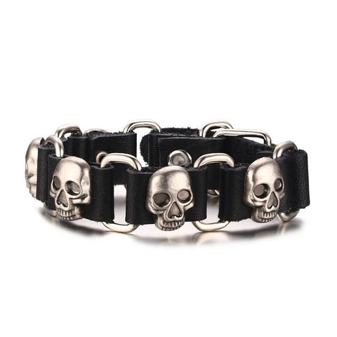 rock style skull charm leather bracelet