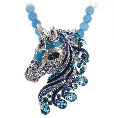 rhinestone horse pendant chain necklace for women