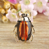 cute shiny enamel cockroach shaped brooch pin for women