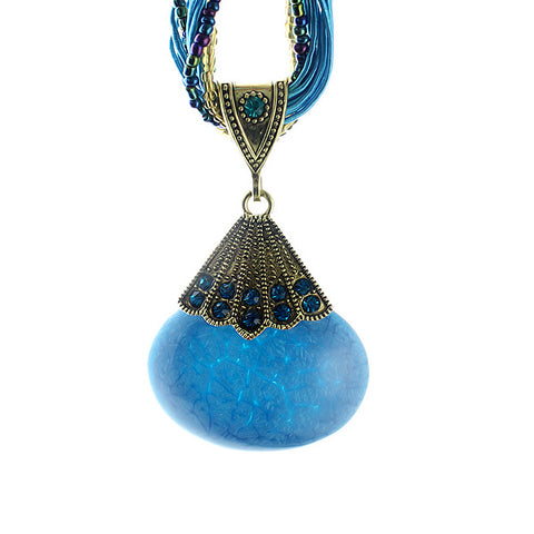 bohemian style colorful beads pendant necklace for women